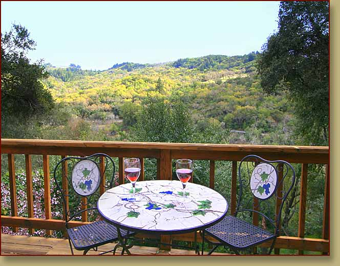 Bistro table on the lower deck at Fitch Mountain Lookout: a hotel alternative in Healdsburg, California>   	        <span class=