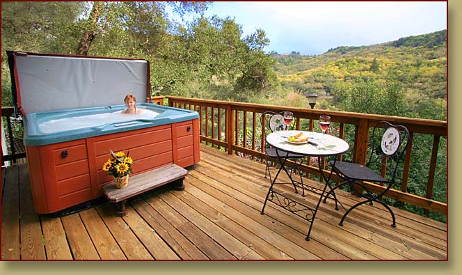 Lower deck. Hot tub. View from Fitch Mountain Lookout, a holiday home in Sonoma County.>   	        <span class=